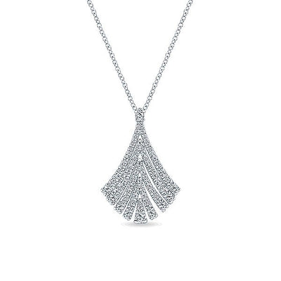 DIAMOND JEWELRY - Flowing Chevron Pave Diamond White Gold Necklace