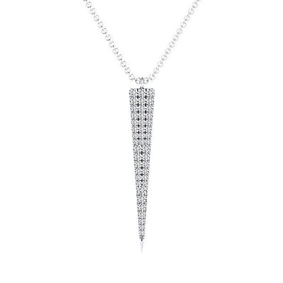 DIAMOND JEWELRY - Long Triangle Shaped Diamond Cluster Gold Necklace