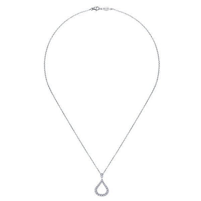 DIAMOND JEWELRY - Pave 1/4ct Teardrop Shaped Diamond Necklace