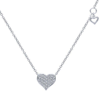 DIAMOND JEWELRY - Pave Diamond Heart Necklace With Heart Shaped Dangle