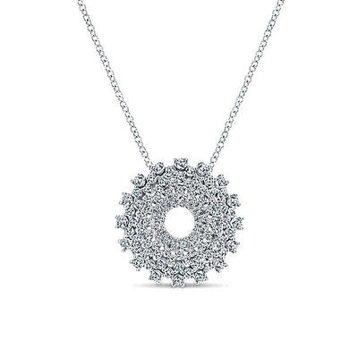 DIAMOND JEWELRY - Pave Diamond Signature Wreath Design White Gold Necklace