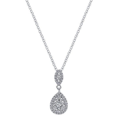 DIAMOND JEWELRY - Pear Shaped Cluster Diamond Drop Necklace