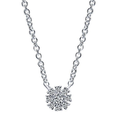 DIAMOND JEWELRY - Petite Circle Bursting Cluster Diamond Necklace