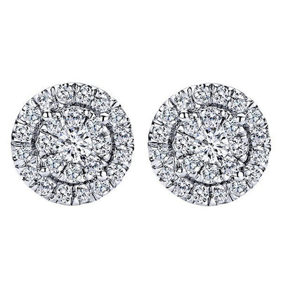 DIAMOND JEWELRY - Round Diamond Cluster 1/2cttw Stud Earrings With Double Halo