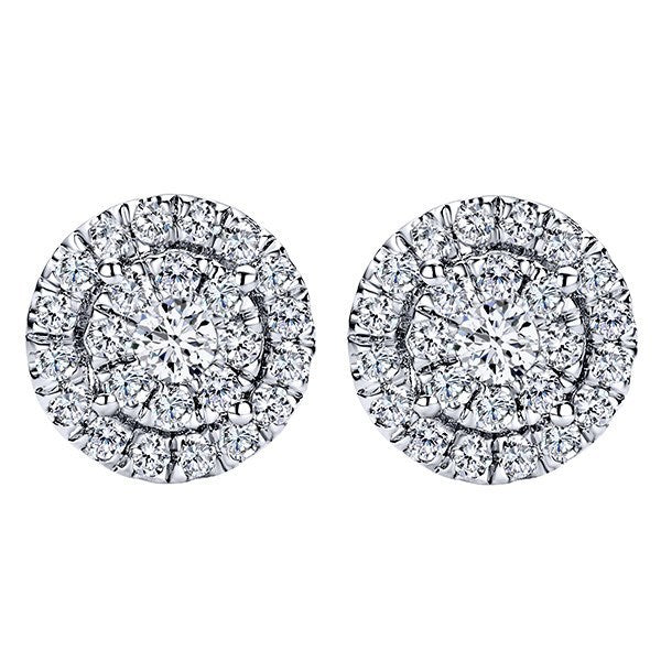 Round Diamond Cluster 1 2cttw Stud Earrings With Double