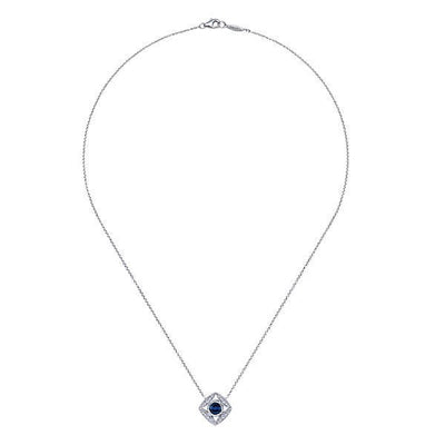 DIAMOND JEWELRY - Sapphire And Diamond Cushion Shaped Starburst Design Necklace