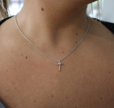 DIAMOND JEWELRY - Sterling Silver Twogether Two-Stone Diamond Cross Necklace