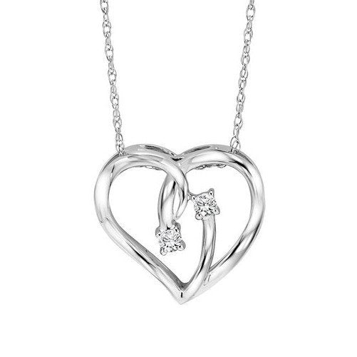 Sterling Silver Twogether Two-Stone Diamond Heart Necklace