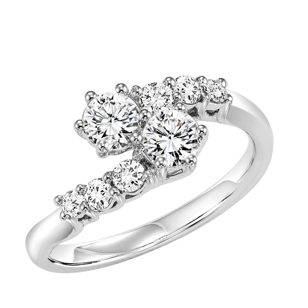 14K White Gold Twogether 1/2cttw 2-Stone Style Bypass