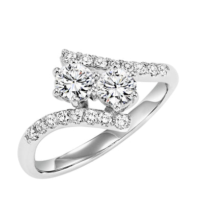 DIAMOND JEWELRY - Twogether 1/4cttw 2-Stone Plus Bypass Diamond Ring
