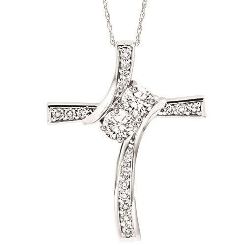 81a00f886784 DIAMOND JEWELRY - Twogether 14K White Gold 1 4cttw Diamond Cross Necklace