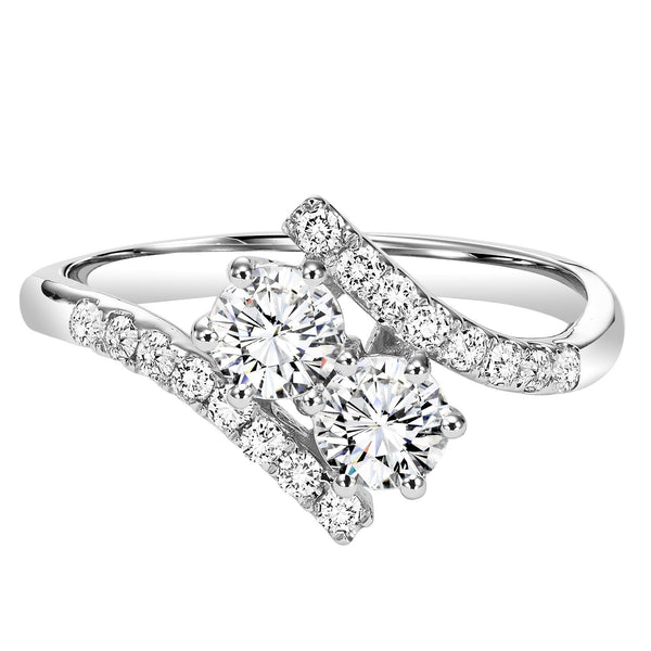 14k White Gold Twogether 1cttw 2 Stone Plus Bypass Diamond