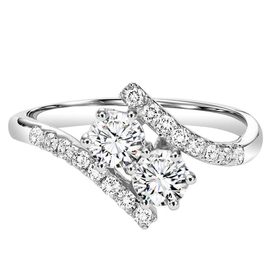 DIAMOND JEWELRY - Twogether 3/4cttw 2-Stone Plus Bypass Diamond Ring