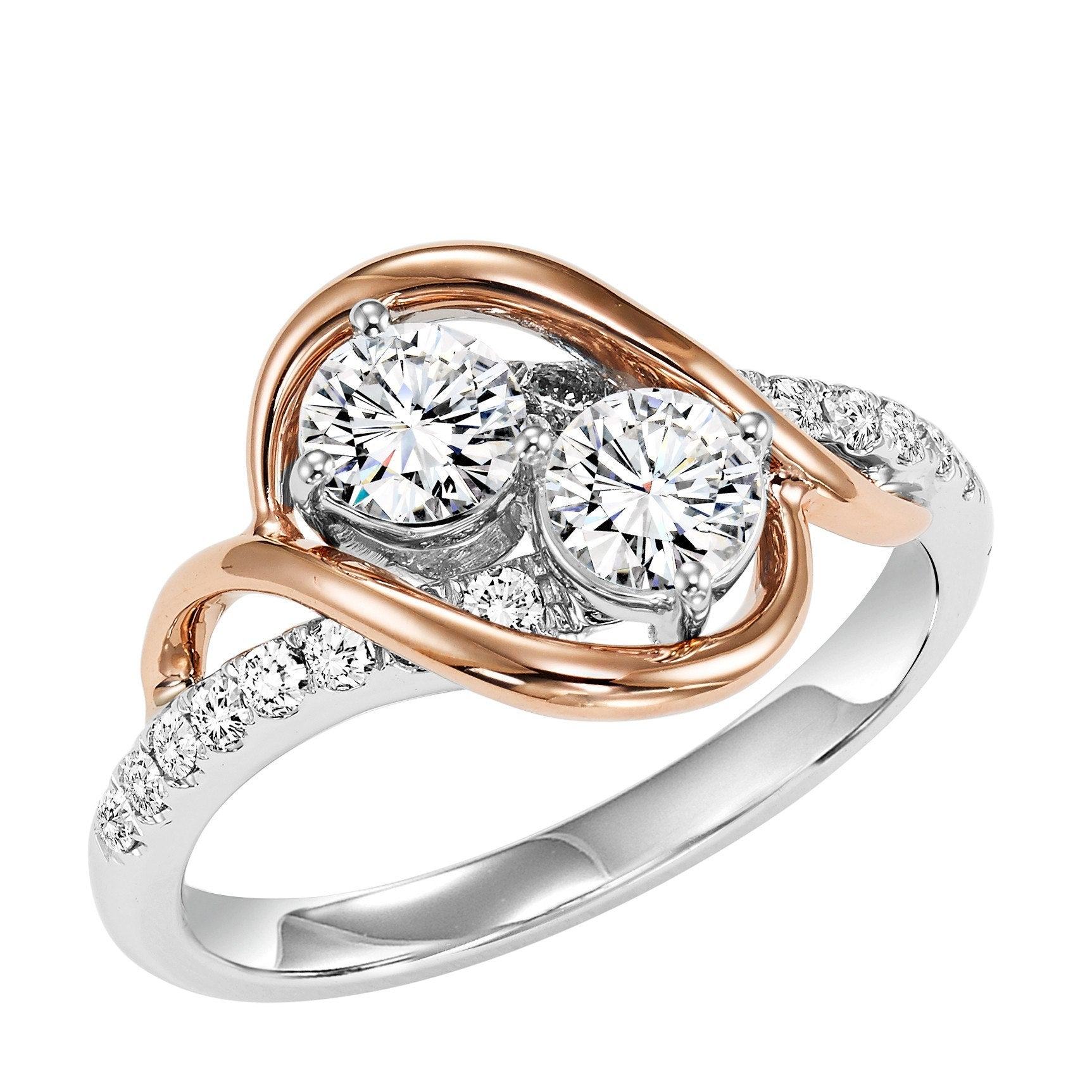 14k Two Tone Twogether 50cttw Rose And White Gold Two Stone Diamond R Mullen Brothers