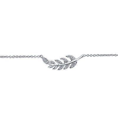 DIAMOND JEWELRY - White Gold Diamond Leaf Fashion Bracelet