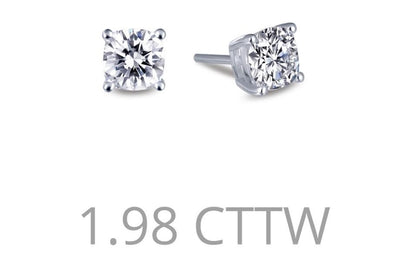 EARRINGS - 1.98 Carat Cushion Cut Simulated Diamond Stud Earrings