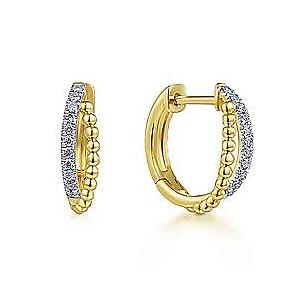 14K Two-Tone Gold Diamond Huggie Earrings