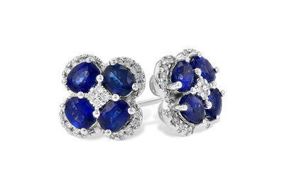 14K White Gold Oval Blue Sapphire and Diamond Floral Cluster Stud Earrings