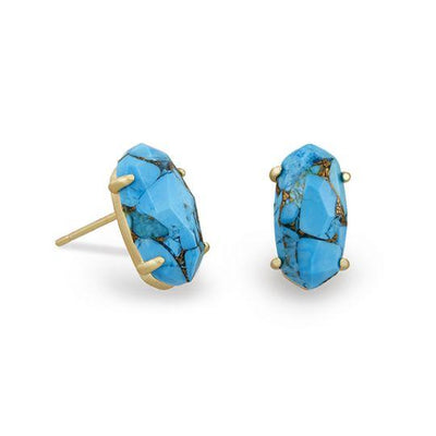 Kendra Scott Betty Earring Gold Bronze Veined Turquoise Stud Earring