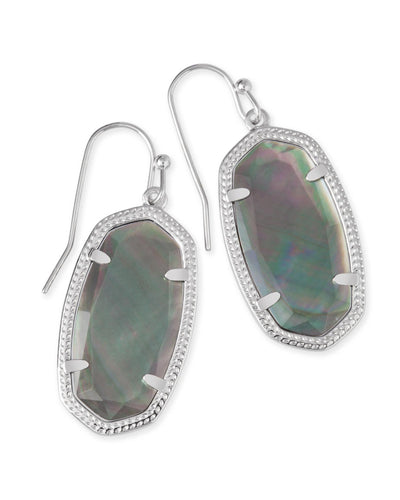 EARRINGS - Kendra Scott Dani Black Mother Of Pearl Silver Drop Earrings