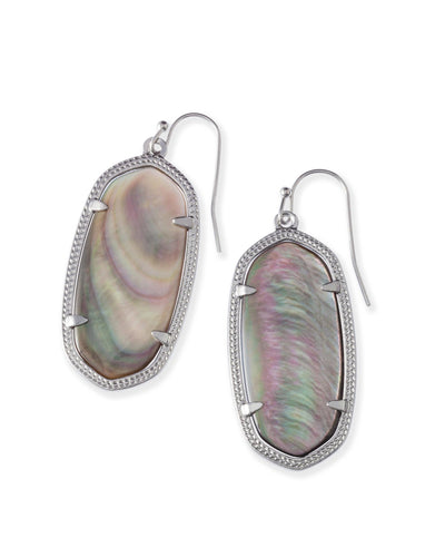 EARRINGS - Kendra Scott Elle Black Mother Of Pearl Silver Earrings