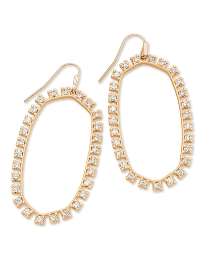 Kendra Scott Elle Rose Gold Plated Crystal Studded Open Frame Drop Earrings