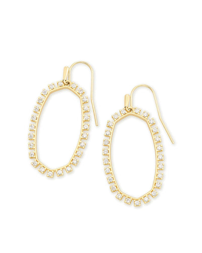 Kendra Scott Elle Yellow Gold Plated Crystal Studded Open Frame Drop Earrings