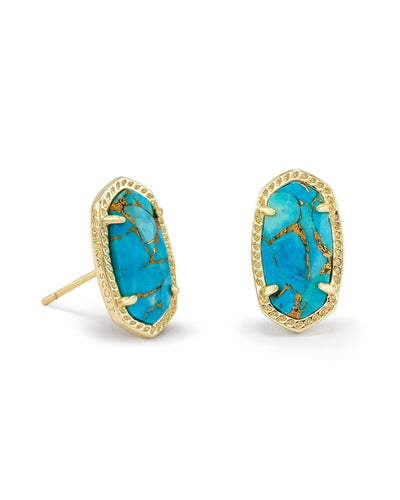 EARRINGS - Kendra Scott Ellie Bronze Veined Turquoise Gold Earrings