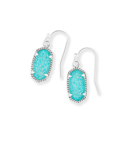 Kendra Scott Lee Teal Drusy Silver Drop Earrings