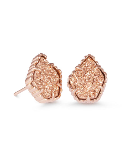 EARRINGS - Kendra Scott Tessa Rose Gold Drusy Rose Gold Stud Earrings