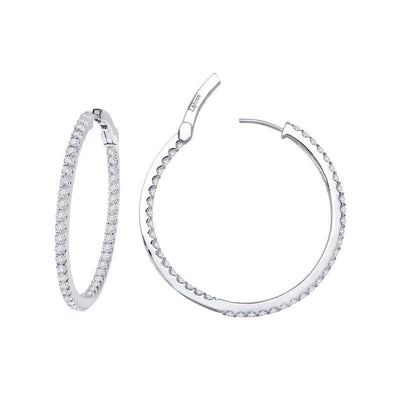 EARRINGS - Lafonn Sterling Silver 1.60cttw Round Inside Out Hoop CZ Earrings