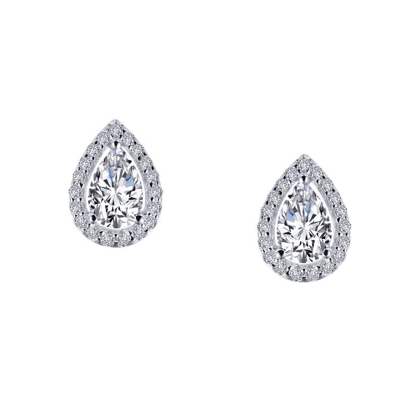 b41f21053 Lafonn Sterling Silver Pear Shaped Halo Simulated Diamond Stud Earring -  Mullen Jewelers