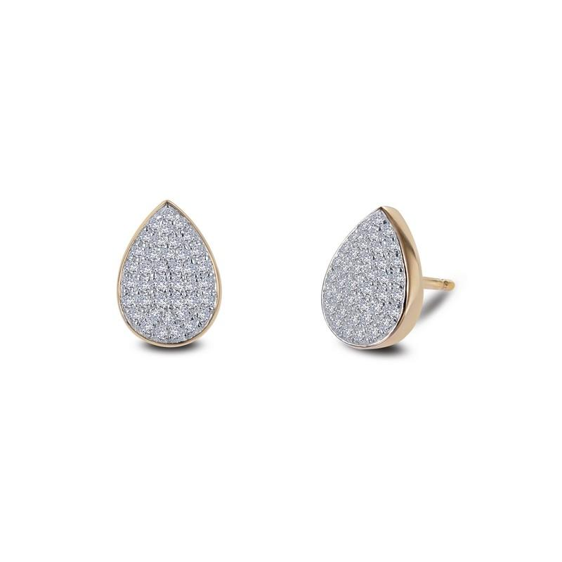 a7e9b4b09 EARRINGS - Lafonn Yellow Gold Plated Pear Shaped Cluster Simulated Diamond Stud  Earrings