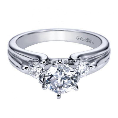 ENGAGEMENT - 1.05cttw 3-Stone Diamond Engagement Ring With Ribbed Style
