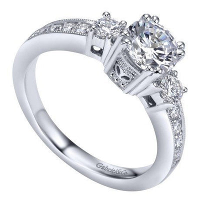 ENGAGEMENT - 1.10cttw 3-stone Plus Diamond Engagement Ring With Pave Basket Heads