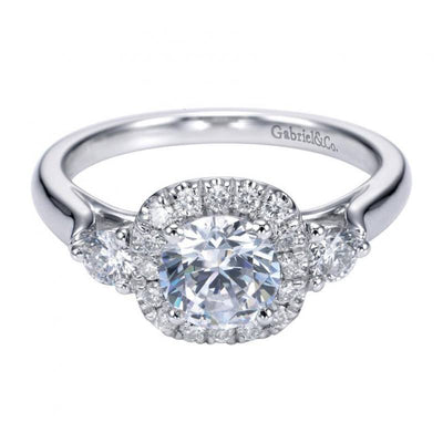 ENGAGEMENT - 1.11cttw 3-Stone Round Engagement Ring With Center Halo