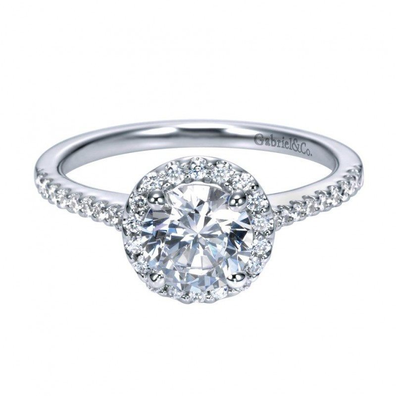 engagement 122cttw round halo diamond engagement ring with pave set side diamonds - Halo Wedding Rings