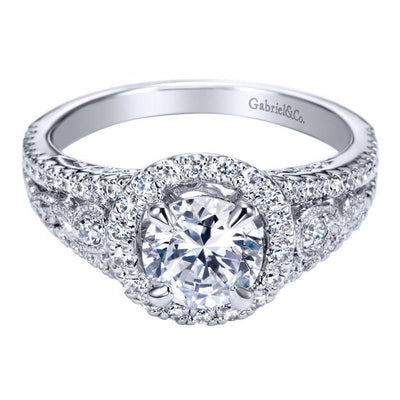 ENGAGEMENT - 1.25cttw Pave Round Diamond Engagement Ring With Split Shank