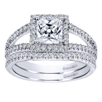 ENGAGEMENT - 1.32cttw Princess Cut Halo Split Shank Diamond Engagement Ring
