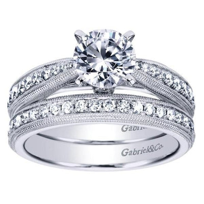 ENGAGEMENT - 1.37cttw Double Milgrain Bead Set Diamond Engagement Ring