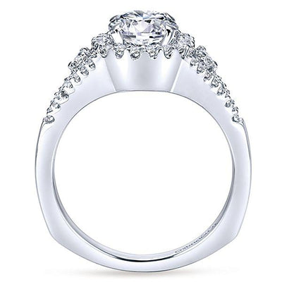 ENGAGEMENT - 1.38cttw Pave Round Diamond Engagement Ring With Split Shank
