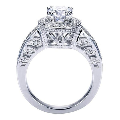 ENGAGEMENT - 1.40cttw Bead Set Round Diamond Halo Engagement Ring