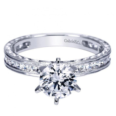 ENGAGEMENT - 1.40cttw Channel Set Round Diamond Engagement Ring With Milgrain Finish And Engraved Shank