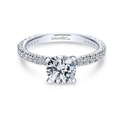 ENGAGEMENT - 1.40cttw Pave Diamond Engagement Ring With 1ct Round Center