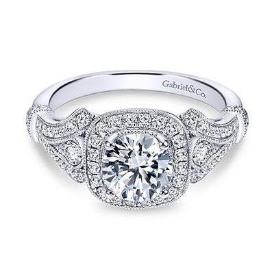 ENGAGEMENT - 1.42cttw Vintage Style Halo Round Diamond Engagement Ring