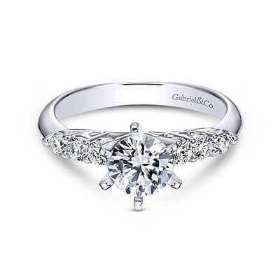 ENGAGEMENT - 1.43cttw 7-Stone Prong Set Round Diamond Engagement Ring