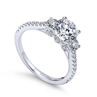 ENGAGEMENT - 1.45cttw 3-Stone Plus Prong Set Round Diamond Engagement Ring