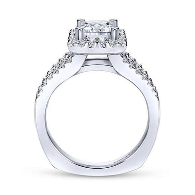 ENGAGEMENT - 1.45cttw Princess Cut Halo Split Shank Diamond Engagement Ring With Prong Set Side Diamonds