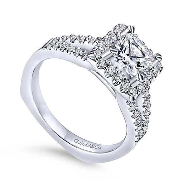 165cttw Princess Cut Halo Diamond Engagement Ring With Plain