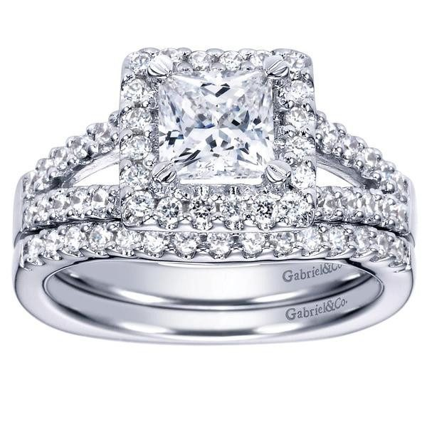 engagement 145cttw princess cut halo split shank diamond engagement ring with prong set side - Princess Wedding Ring